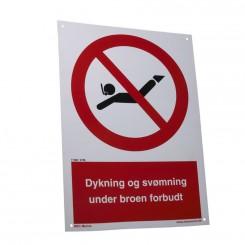 Dykning og svømning under broen forbudt (Skilt 2)
