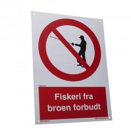 Fiskeri fra broen forbudt (Skilt 3)